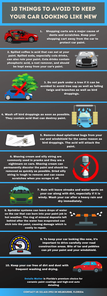 Infographic 10 Things to Avoid to Keep Your Car Looking Like New